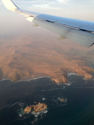 Ocean view of Peru from the plane