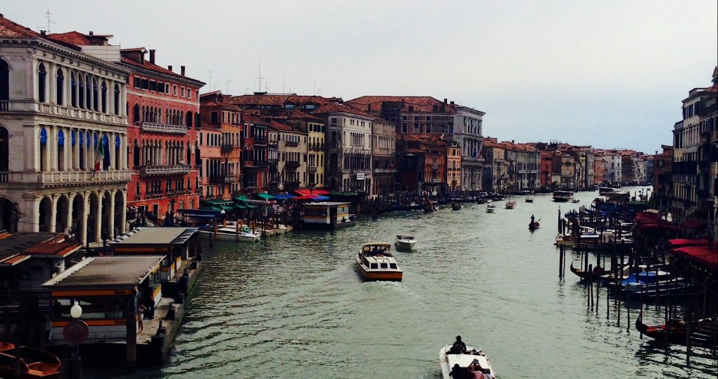 The view from atop a bridge in Venice, Italy