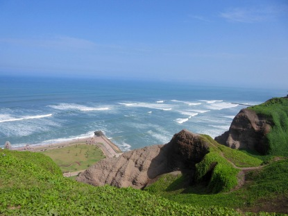 View of the coast in Miraflores, Lima Peru