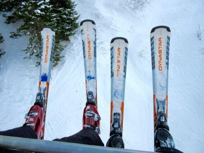 Skis on the lift - Snowbird, Utah