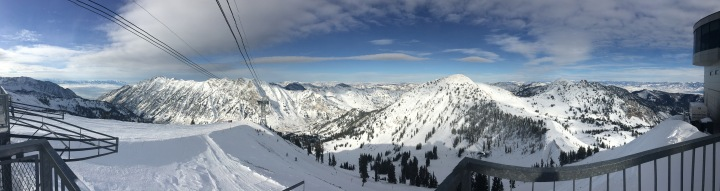 At the top of Hidden Peak, Snowbird, Utah