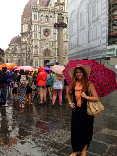 Outside of the Cathedral of Saint Mary of the Flowers in Florence, Italy