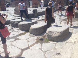 The walkway over the drainage lines in Pompeii, Italy