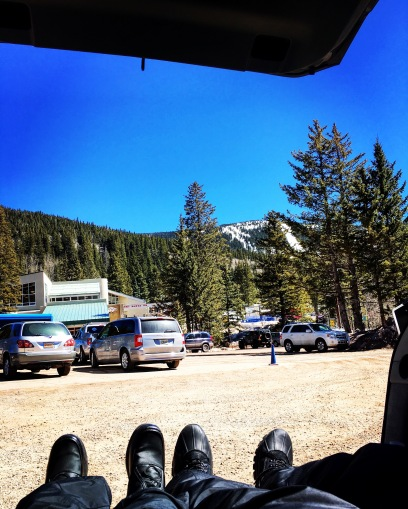 Relaxing in the Prius at Ski Santa Fe, New Mexico