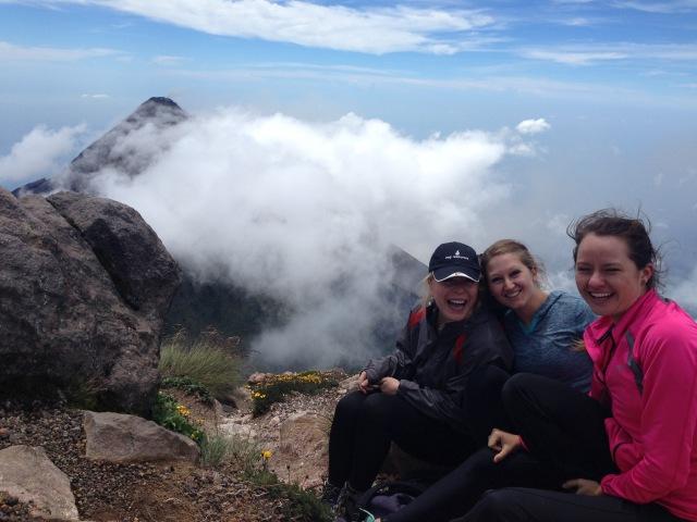 The view of En Fuego Volcano from Acatenango in Antigua, Guatemala