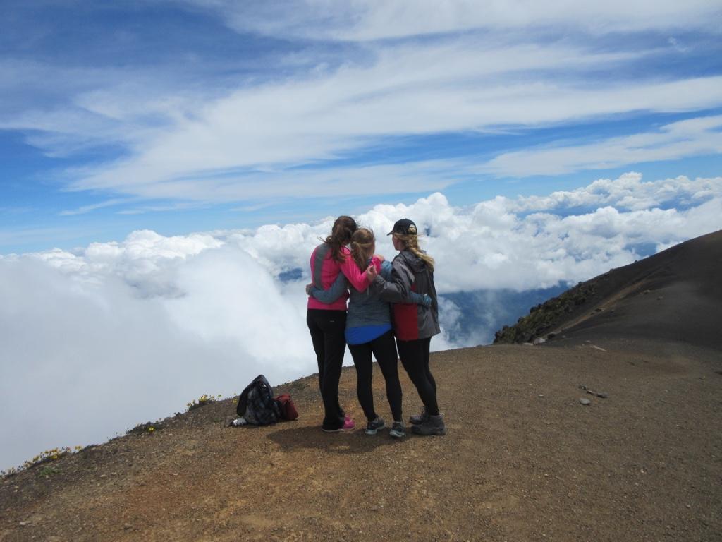 Atop of the Acatenango volcano in Antigua, Guatemala