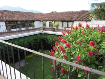 Roof top patios in traditional Antigua homes. Antigua, Guatemala