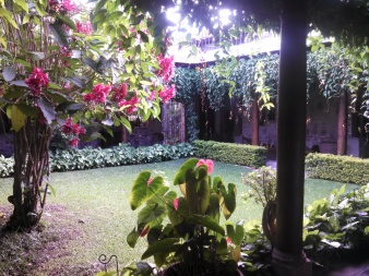 House gardens in traditional Antigua homes. Antigua, Guatemala