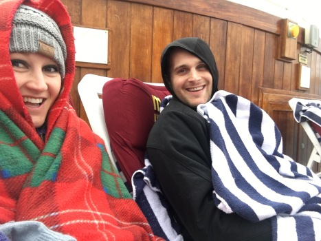 Keeping warm while watching a movie on the deck of the Crown Princess Alaskan cruise ship
