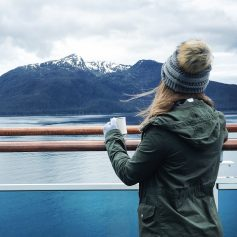 Looking over Alaska in my fave fake-fur puff beanie and military jacketLooking over Alaska in my fave fake-fur puf beanie and military jacket