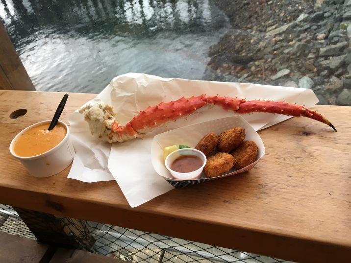 King crab leg, crab bisque, and crab cakes at Tracys King Crab Shack in Juneau, Alaska