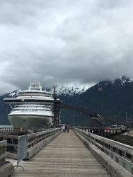 The view of the Crown Princess in Skagway, Alaska