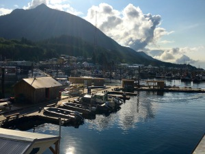 Walkng the docs in Ketchikan, Alaska to our kayaking adventure