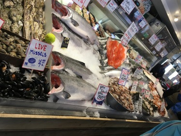 Seafood counter in Pike Place Market in Seattle, Washington