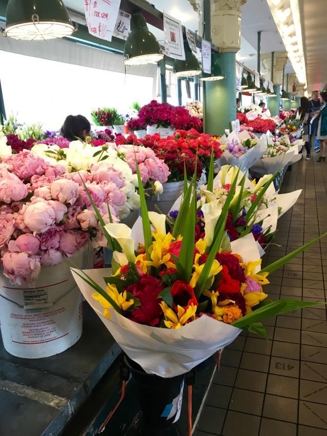 Flowers in Pike Place Market in Seattle, Washington