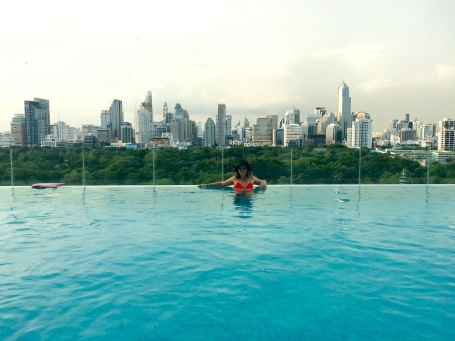 At the infinity pool at the So Sofitel Hotel in Bangkok, Thailand