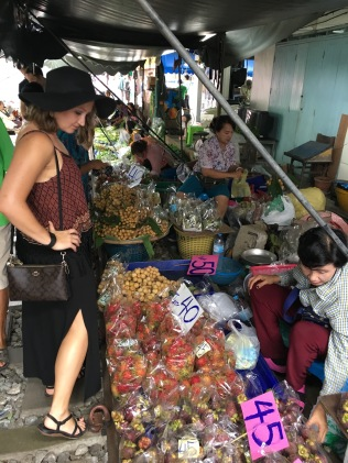 The train market in Bangkok, Thailand