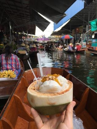 Coconut ice cream at Damnoen Saduak floating market outside of Bangkok, Thailand