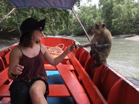 Feeding monkeys outside of Bangkok, Thailand