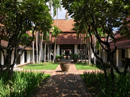 The lobby at the Rachamankha hotel in Chiang Mai, Thailand