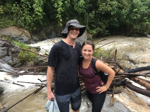 Hiking past waterfalls to the Elephant Jungle Sanctuary outside of Chiang Mai, Thailand