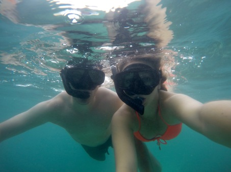 Snorkeling outside of Maya Bay in the Phi Phi islands, Thailand