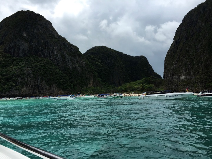 Heading into Maya Bay of the Phi Phi islands in Thailand