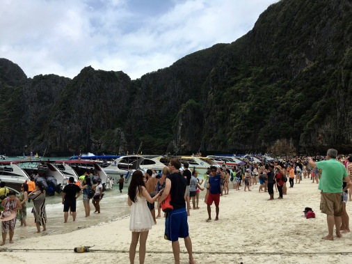 On the beach in Maya Bay of the Phi Phi islands in Thailand
