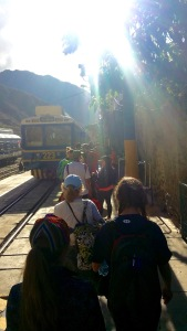 Getting on the train to Machu Picchu in Ruins in Ollantaytambo, Peru