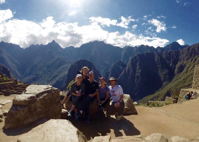 My favorite travel buddies atop Machu Picchu, Peru