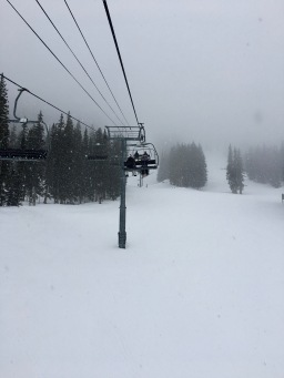 Snowing on the ski lift in Taos Ski Valley New Mexico