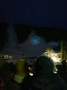 The laser light show on New Years in Taos Ski Valley