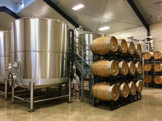 The fermentation room at Grape Creek Winery in Fredericksburg, Texas