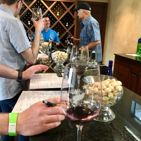 """Pocket bread"" and wine at Grape Creek Winery"