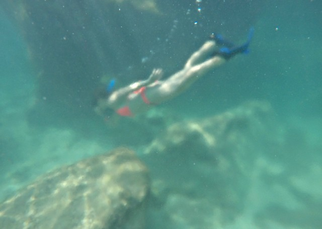 Snorkeling in a lagoon in Mexico