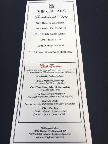 The wine tasting menu at VJB Winery in Sonoma, Ca
