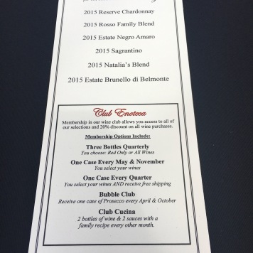 The wine tasting menu at VJB Winery in Sonoma, Ca
