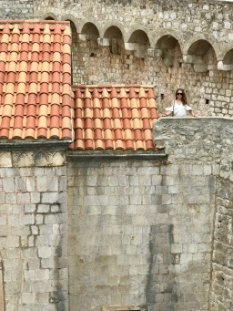 Climbing the wall around Old Town Dubrovnik, Croatia