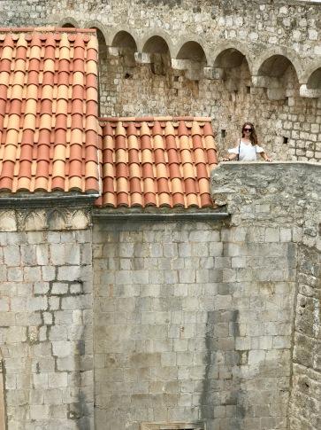 Climbing the wall around Old Town Dubrovnik, Croatia