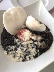 Squid ink risotto at the Our first dinner on our honeymoon at the Our view from our room at the Dubrovnik Palace Hotel, Croatia