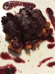 Duck in a plum sauce with duck with roasted sweet potatoes at the Dubrovnik Place Hotel