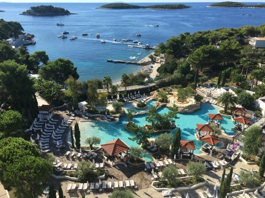 Our view at the Amfora Hvar Grand Beach Resort in Croatia