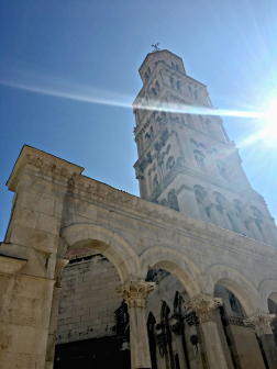 The bell tower in the palace in Split, Croatia