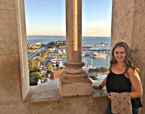 Atop the bell tower in the palace in Split, Croatia