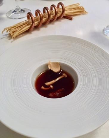 Chilled mushroom soup at Il Pagliaccio in Rome, Italy