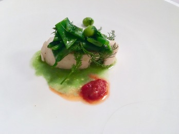 White fish and peas at Il Pagliaccio in Rome, Italy