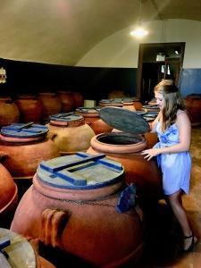 In the olive barrel room of Villa Li Cortiin Italy