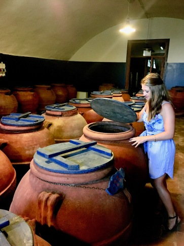 In the olive barrel room of Villa Li Corti in Italy
