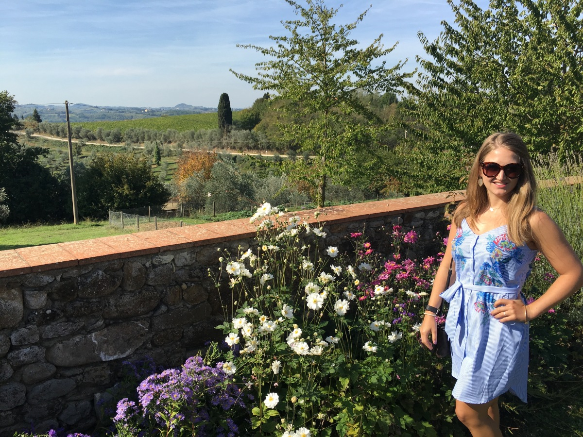 Wandering the gardens in the Chianti wine region of Italy