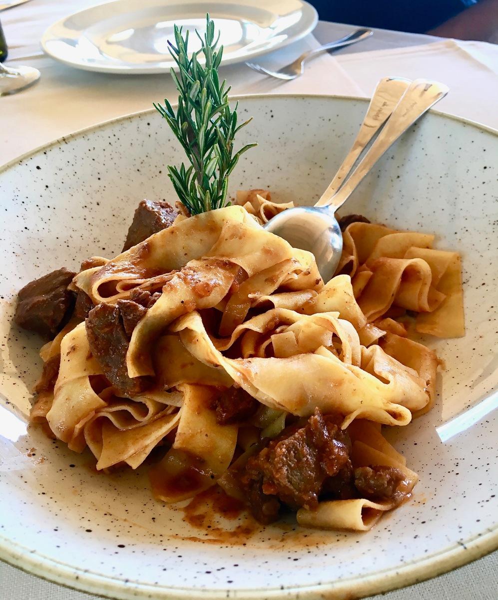 Boar rigatoni in Tuscany, Italy